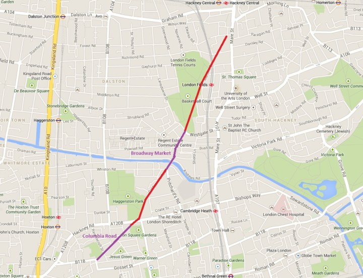 Broadway Market, in purple, is the missing link in Hackney's traffic free route - from Google maps