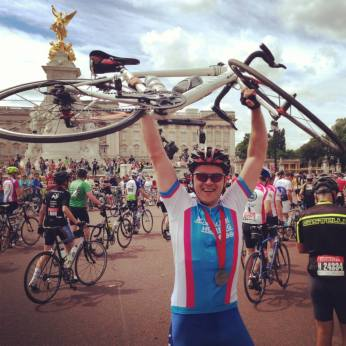 Nils at finish line of RideLondon