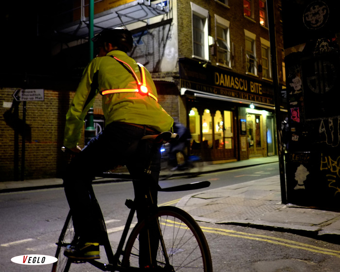 The Commuter X4 bike light fits with straps around your shoulders of back pack and provides a light that is visible from more angles