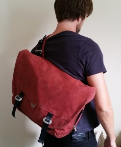 Man wearing messenger bag
