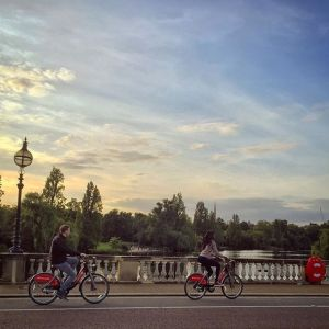 Boris bike riders in Hyde Park