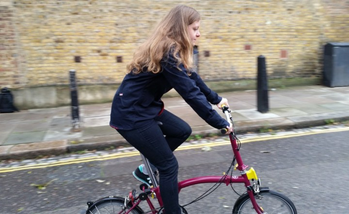Lumo on a bike