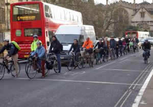 Cyclists queuing