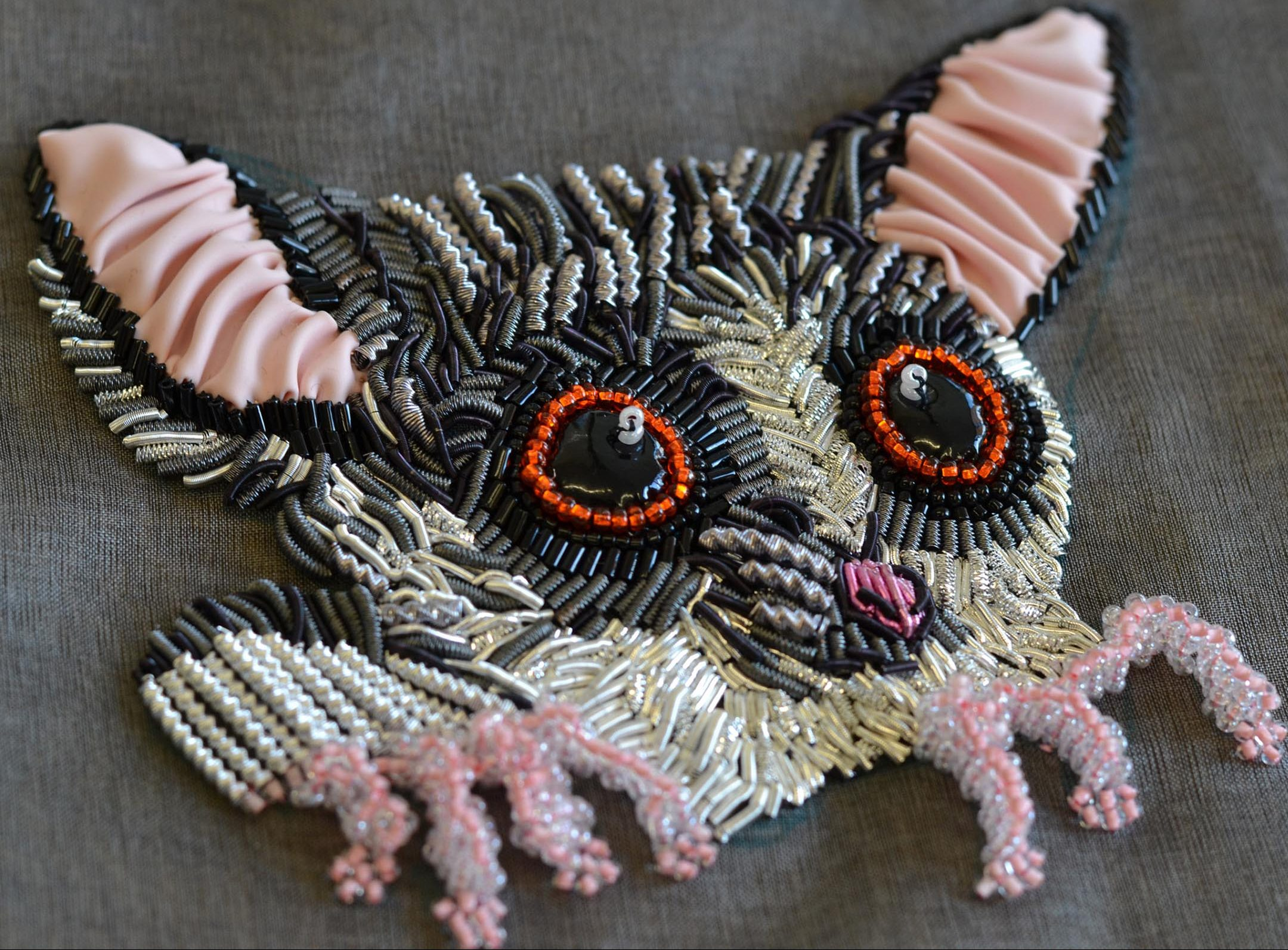 bush baby goldwork embroidery