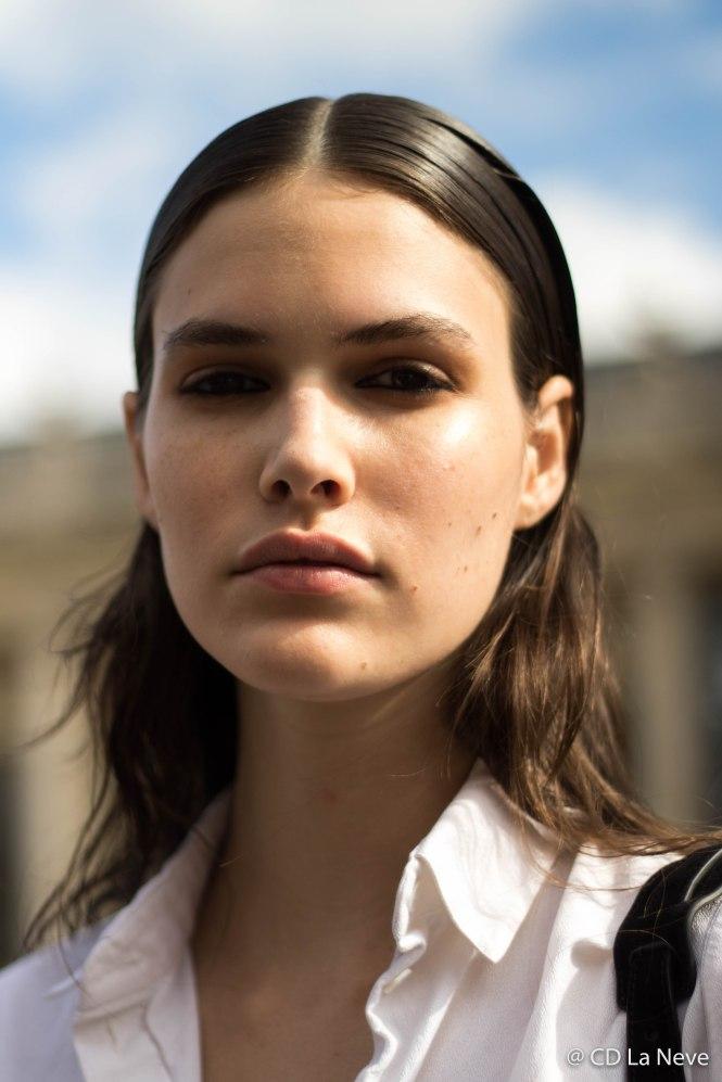 Model after Mugler Show Paris Fashion Week