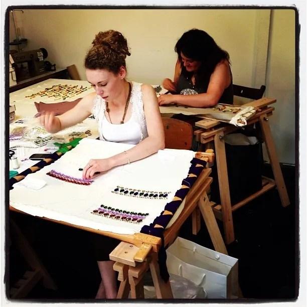 selda and natasha stitching Internships with Hawthorne & Heaney, Bespoke Embroidery