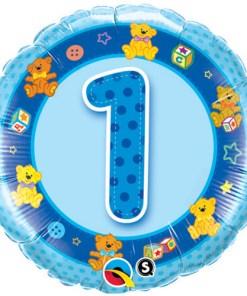 18 inch aged 1 blue teddies birthday foil balloon