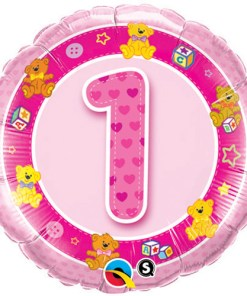 18 inch aged 1 pink teddies birthday foil balloon
