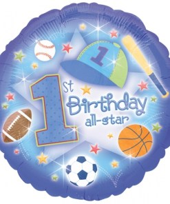 Helium filled first birthday all- star Foil Balloon