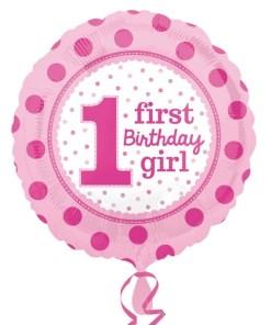 Helium filled 1st birthday girl  Foil Balloon