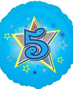 "Blue stars 5th Birthday 18"" Helium Filled Foil Balloon"