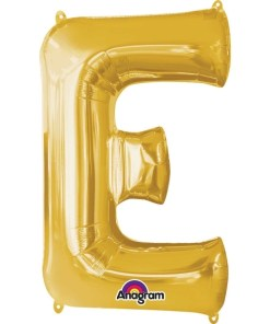 "Gold Supershape Letter E 34"" Helium Filled foil Balloon"