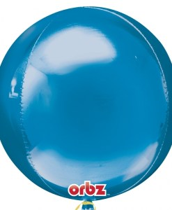 "3 Plain Blue Orbz 16"" Helium Filled Foil Balloonss"