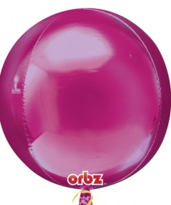 """3 Plain Bright Pink Orbz 16"""" Helium Filled Foil Balloons"""