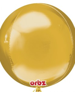 "3 Plain Gold Orbz 16"" Helium Filled Foil Balloonss"