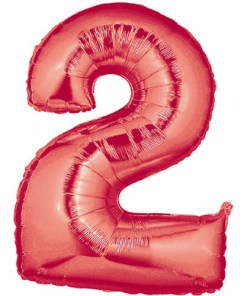 Red number 2 foil balloon.