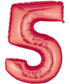 Red number 5 foil balloon.