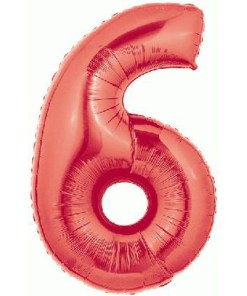 Red number 6 foil balloon.