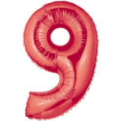 Red number 9 foil balloon.