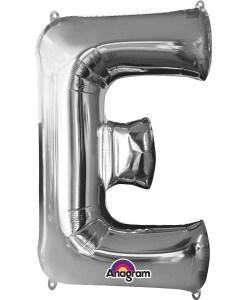 Silver Supershape Letter E Helium Filled Foil Balloon