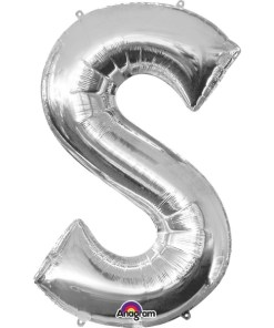Silver Supershape Letter S Helium Filled Foil Balloon