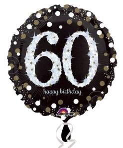 "Sparkling Celebration Black & gold 60th Birthday 18"" Helium Filled Foil Balloon"