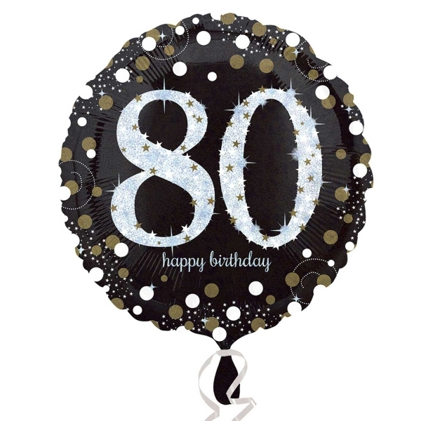 Sparkling Celebration Black Gold 80th Birthday 18 Helium Filled Foil Balloon