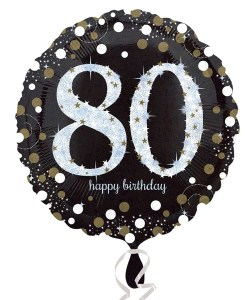 "Sparkling Celebration Black & gold 80th Birthday 18"" Helium Filled Foil Balloon"