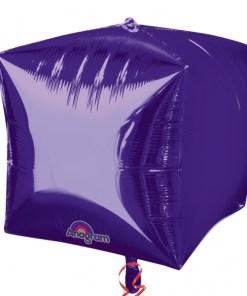 """3 Purple 15"""" Helium Filled Cubez Foil Balloons"""