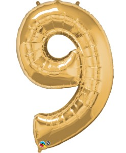 Gold number 9 foil balloon.