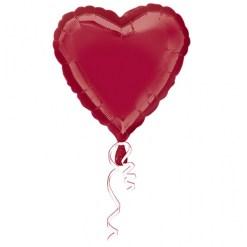 Metallic Burgundy Heart Helium Filled Foil Balloon