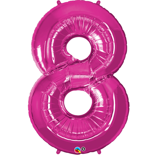 Pink #8 Foil number shape Helium Filled Balloon