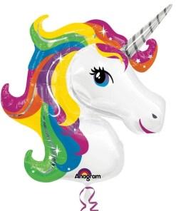 Rainbow Unicorn Supershape Helium Filled Foil Balloon