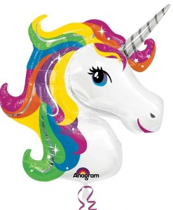 Rainbow Unicorn Supershape Helium Filled Foil Balloon