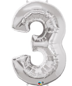 Silver number 3 foil balloon.