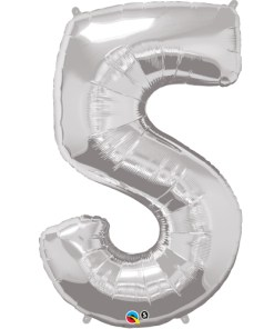 Silver number 5 foil balloon.
