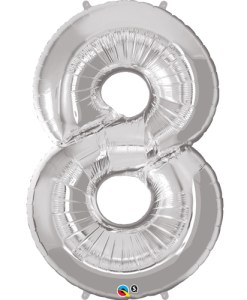 Silver number 8 foil balloon.
