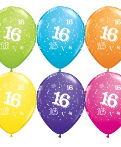 "10 16th Birthday 11"" Assorted colour  Helium Filled Balloons"
