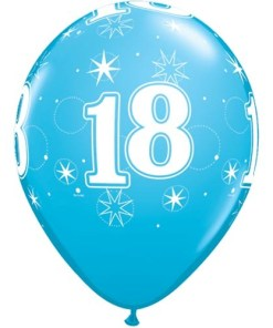 """10 18th Birthday 11"""" Blue  Helium Filled Balloons"""