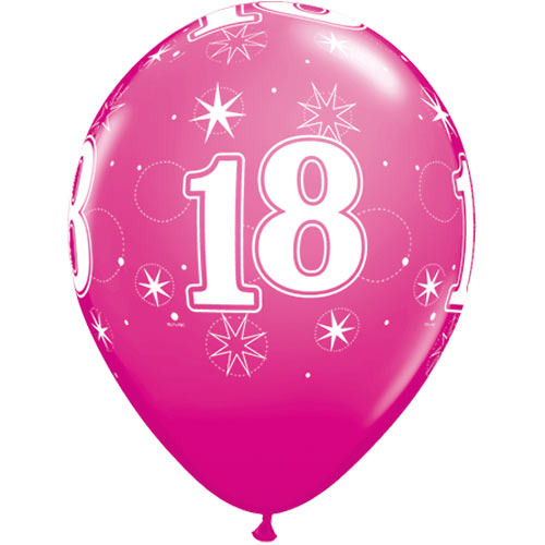 10 18th Birthday 11 Pink Helium Filled Balloons