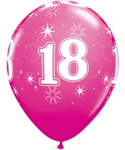 """10 18th Birthday 11"""" Pink  Helium Filled Balloons"""