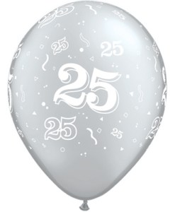"""10 25th Birthday 11"""" Silver  Helium Filled Balloons"""