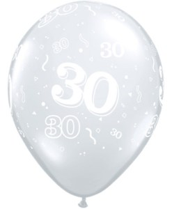 """10 30th Birthday 11"""" Clear  Helium Filled Balloons"""