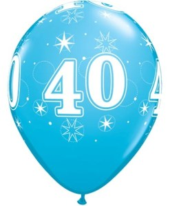 """10 40th Birthday 11"""" Blue  Helium Filled Balloons"""