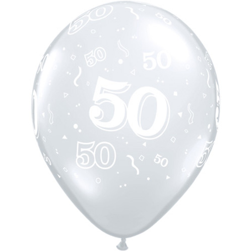 10 50th Birthday 11 Clear Helium Filled Balloons
