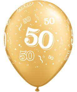 "10 50th Gold 11"" Helium Filled Balloons"