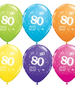 10 80th Birthday Assorted Coloured 11 Helium Filled Balloons