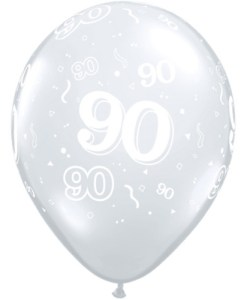 """10 90th Birthday Clear 11"""" Helium Filled Balloons"""
