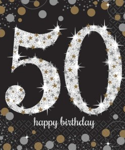Gold Celebration Happy 50th Birthday Luncheon Napkins (16)