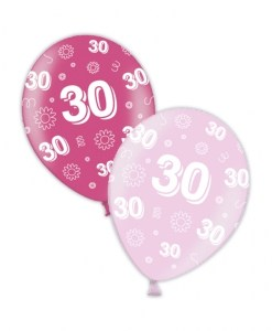 "10 30th Birthday Fab Fuchsia 11"" Helium Filled Balloons"